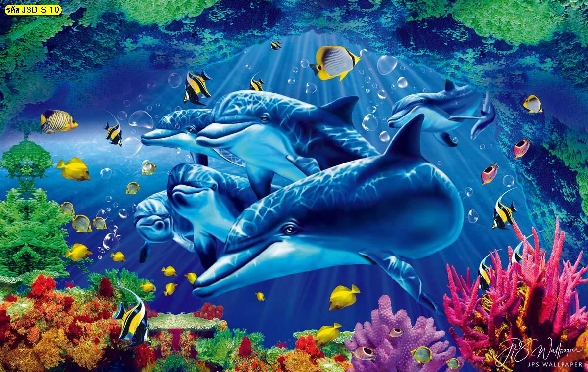 ภาพสั่งผลิตติดกำแพง วอลเปเปอร์ลายสามมิติโลมาดำน้ำดูปะการัง