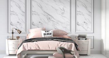 ผนังหัวเตียงหรู ภาพสั่งพิมพ์ติดผนังลายกรุผนังหินอ่อน แบบห้องนอนหรู