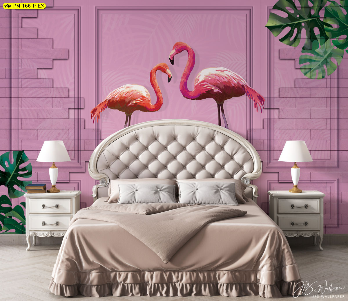 ตกแต่งหัวเตียงวอลเปเปอร์กรุผนัง ห้องนอนสีชมพูสไตล์ธรรมชาติ