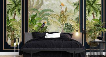 แต่งผนังหัวเตียงหรู วอลเปเปอร์กรุผนังลายสวนป่า ไอเดียแต่งห้องนอนโทนสีดำ