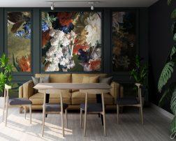 แต่งห้องคอนโดธรรมชาติ วอลเปเปอร์ลายกรุผนังพื้นหลังภาพวาดดอกไม้แต่งบ้าน ภาพวาดดอกไม้ในห้องนั่งเล่น ภาพวาดแต่งห้องนั่งเล่น