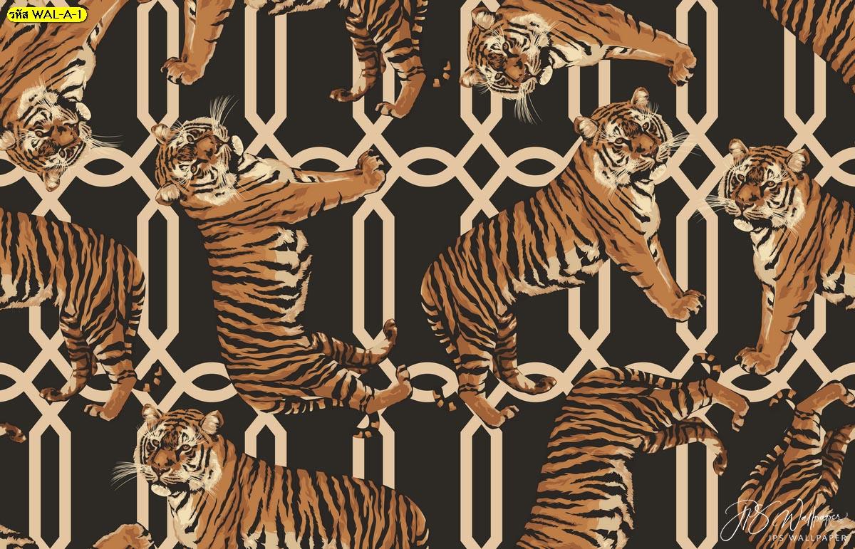 พิมพ์วอลเปเปอร์ลายเสือแต่งผนังห้องนั่งเล่น วอลเปเปอร์ต่อลายเสือพื้นหลังสไตล์โมเดิร์น
