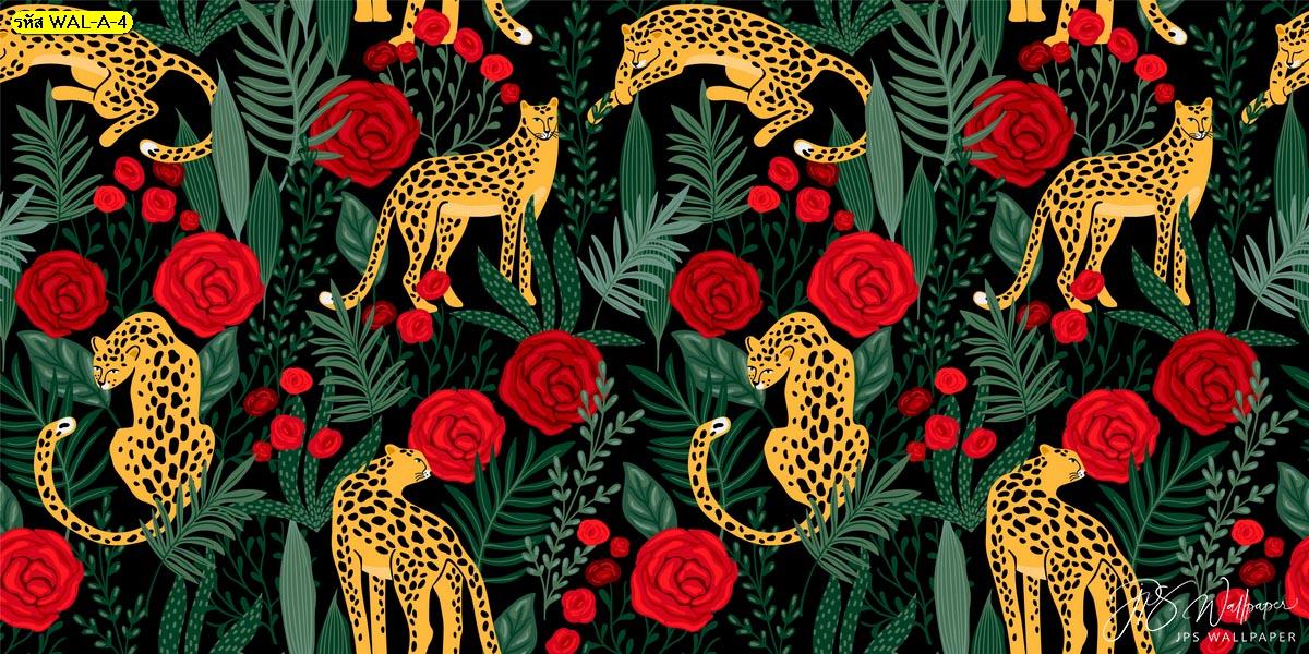 วอลเปเปอร์ต่อลายเสือและกุหลาบแดงพื้นหลังสีดำ แบบผนังบ้านตกแต่งด้วยวอลเปเปอร์