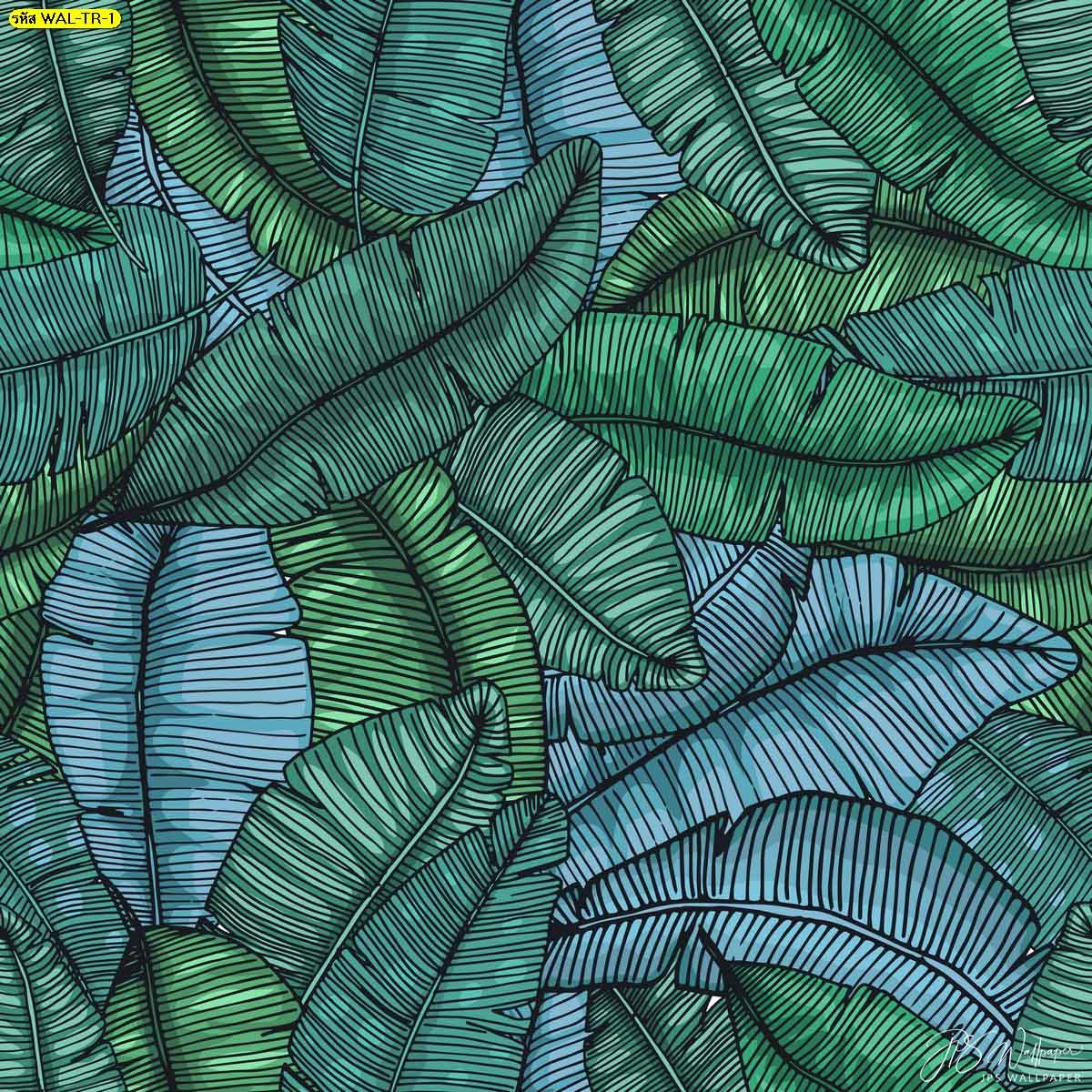 วอลเปเปอร์ต่อลายใบตองเขียว วอลเปเปอร์ต่อลายขนาดใหญ่ลายใบตอง