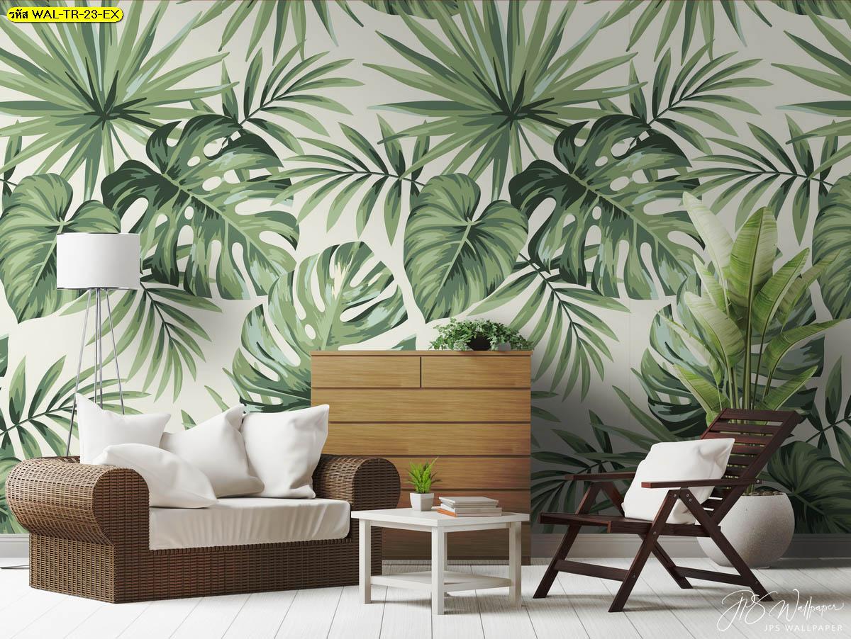 ห้องนั่งเล่นเฟอร์นิเจอร์ไม้กับภาพใบไม้สีเขียว ไอเดียแต่งห้องบรรยากาศธรรมชาติ