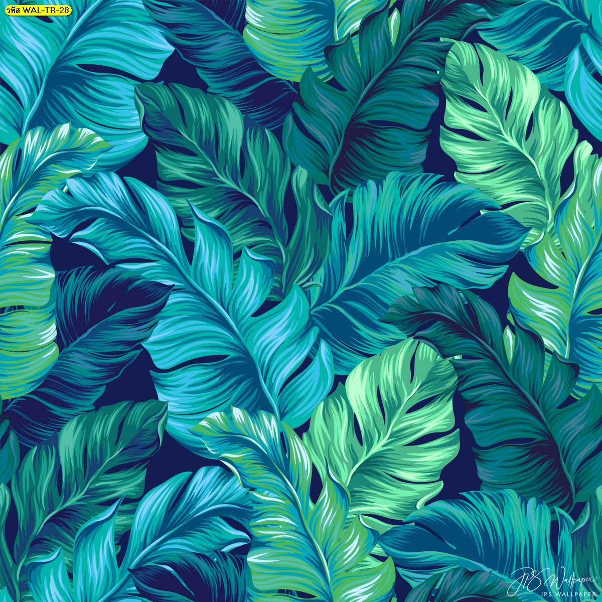 วอลเปเปอร์ติดผนังลายใบตองสีเขียวพริ้วๆ ไอเดียแต่งผนังด้วยวอลเปเปอร์ลายธรรมชาติ